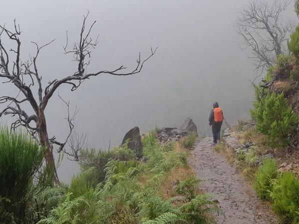 In de mist wandelen op Maideira